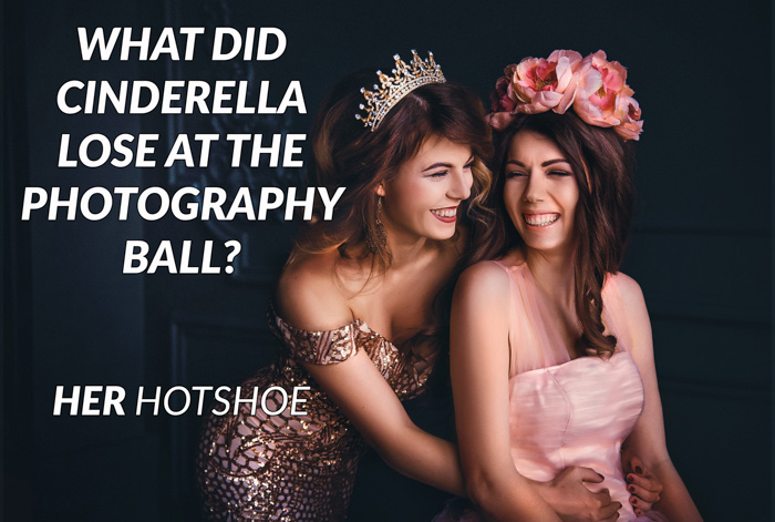 Camera puns overlayed on a portrait of two glamourous female models