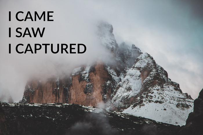 Photography joke overlayed on a photo of a stunning misty mountain