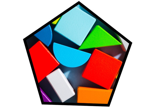A photo of colorful shapes in a pentagon shaped Photoshop frame