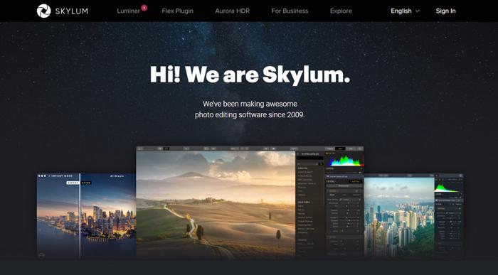 The Skylum Luminar homepage