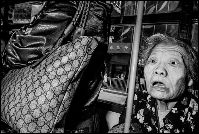 An iconic street portrait by Bruce Gilden