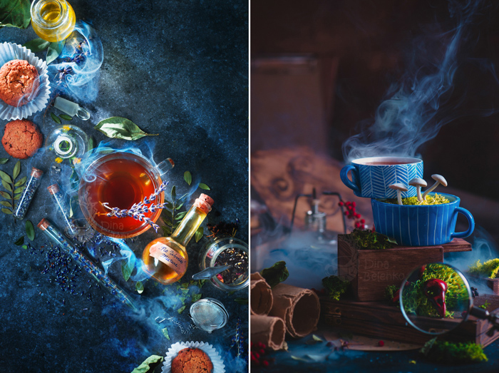 A diptych photo of magic themed still life compositions