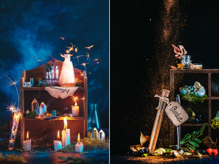 A diptych photo of magic themed still life composition