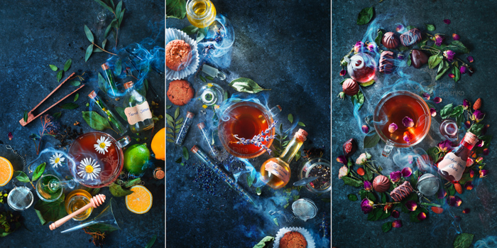 A still life triptych of magical potions - examples of using text in photography