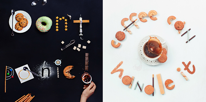 A still life diptych of creative food typography - examples of using text in photography