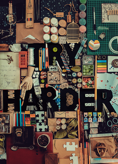A creative still life flat lay with typography - examples of using text in photography