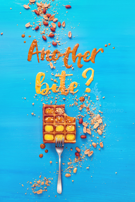 A creative still life using food typography on a sky blue background - examples of typography