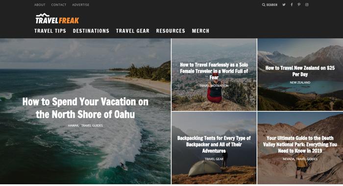 TravelFREAK photography blog homepage