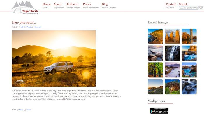 A screenshot of Yegor Korzh travel photography blog