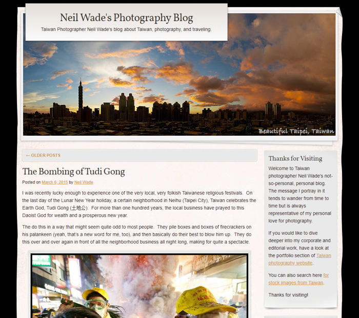 A screenshot of Neil Wade's Photography Blog homepage