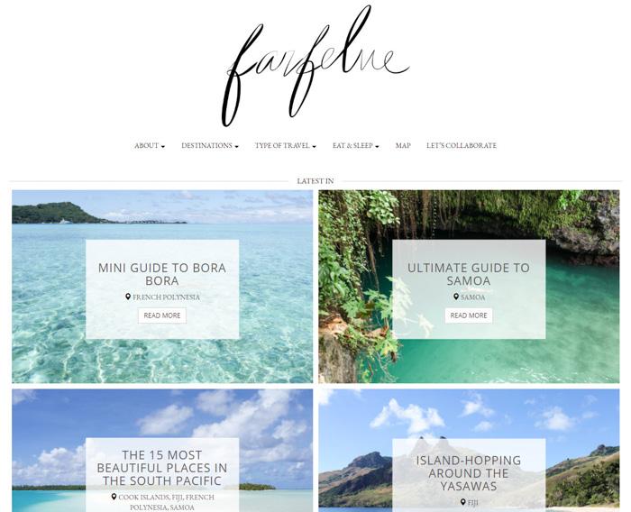 A screenshot of Farfelue blog