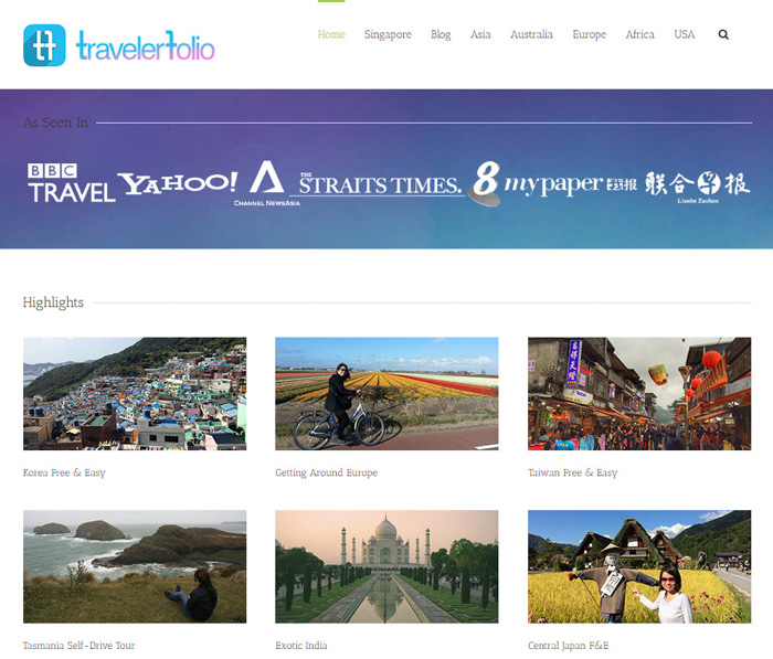 A screenshot of the travel photography blog 'TravelerFolio' homepage