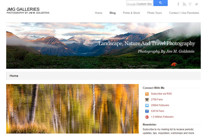 A screenshot of the Landscape, Nature and Travel Photography homepage - travel photography blogs
