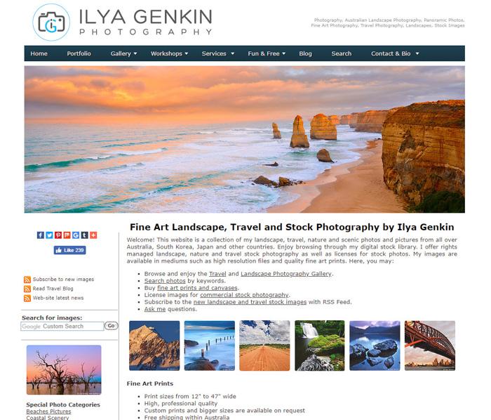 A screenshot of Ilya Genkin photography website - best travel photography blogs to follow 2019