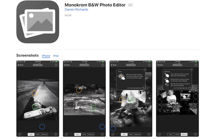 Monokrom app homepage - black and white filter app