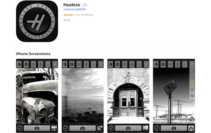 A screenshot of Hueless homepage - a great black and white filter smartphone app