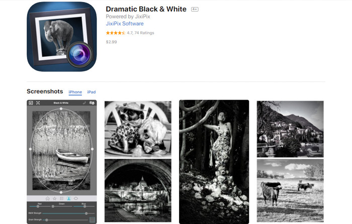 A screenshot of the Dramatic Black and White b&w filter app - best smartphone apps to make photos black and white
