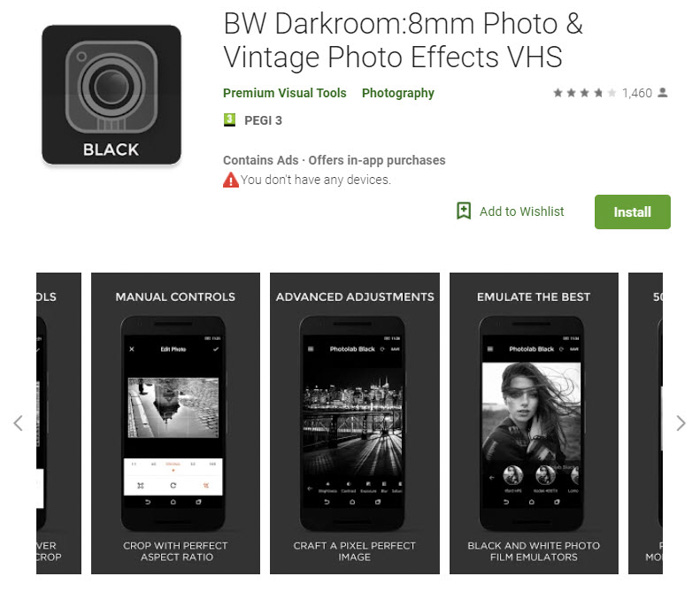 A screenshot of the BW Darkroom homepage (previously known as Photo Editor – Black and White) a great app for adding black and white filters to your images.