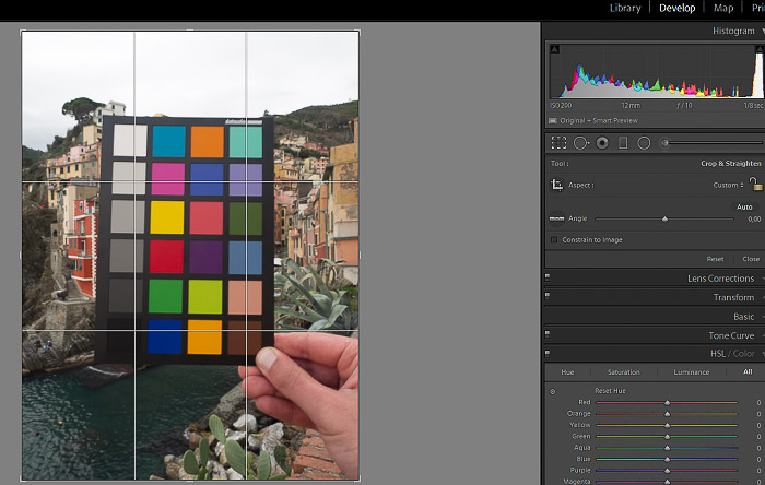 A screenshot of cropping a photo of a color checker in Lightroom