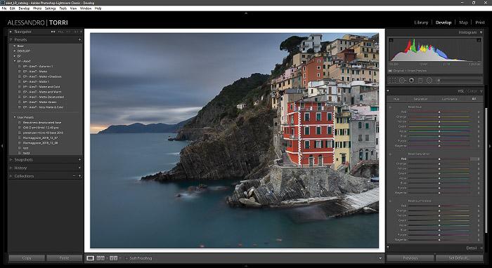 A screenshot of editing a photo of a coastal landscape in lightroom