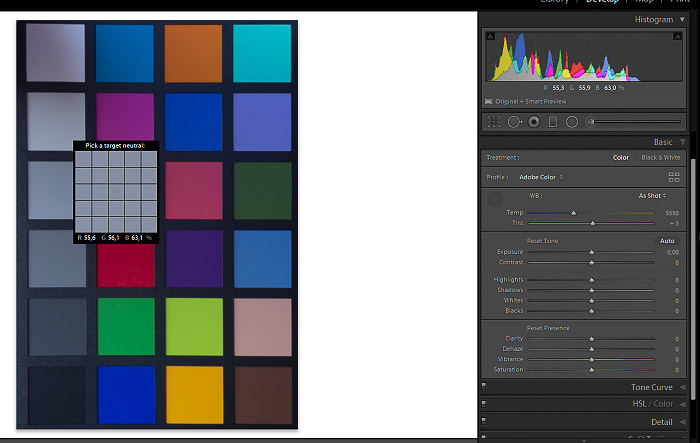 A screenshot of checking color balance on a color checker in Lightroom
