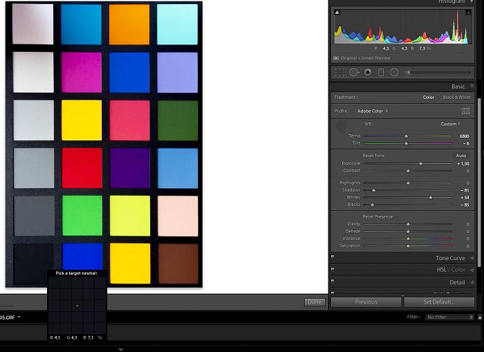 Using a color checker- Shadows & Darks values