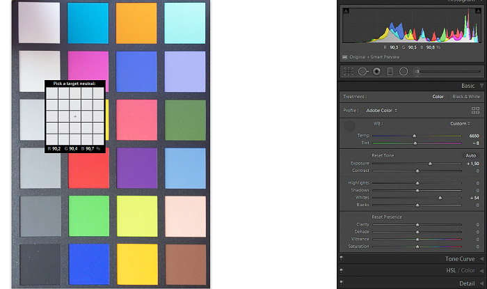 A screenshot of checking Highlights & Exposure Values with a color checker in Lightroom