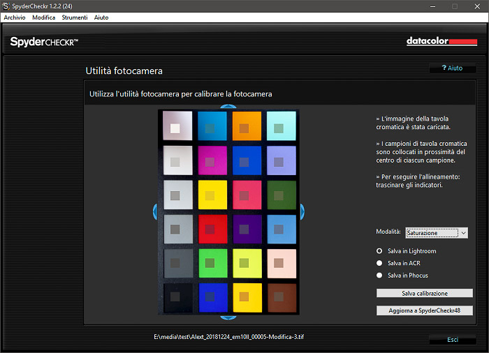 A screenshot of using Datacolor SpyderCheckr