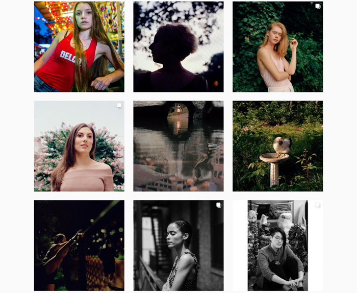 A grid of 9 portraits by film photographer Tess Mayer
