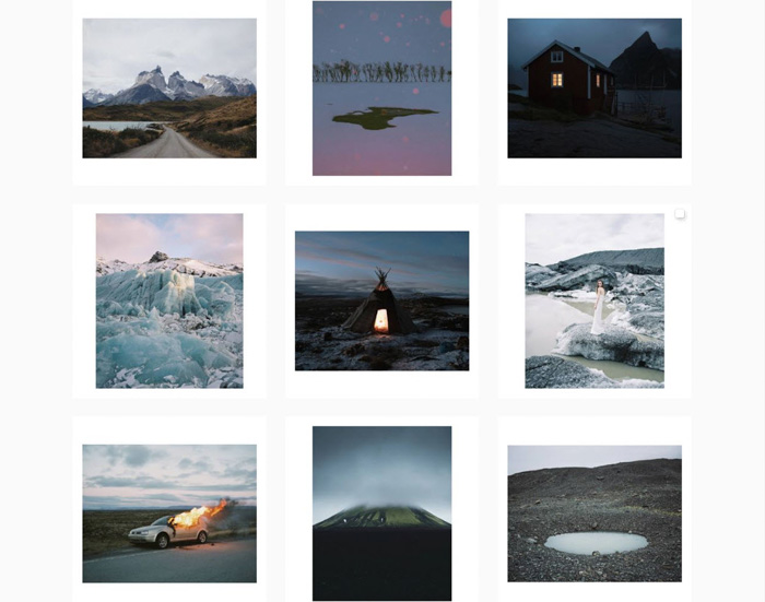 A nine photo grid of atmospheric landscape shots by Michael Novotny - analog photographers 2019