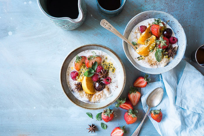 Bright and airy flat lay of fruity desserts - food photography inspiration