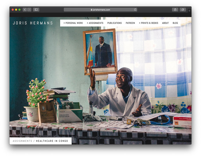 A screenshot of a photographers website homepage photojournalism tips