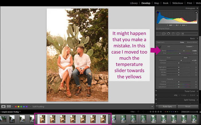 A screenshot showing how to batch edit in lightroom - autosync mistake