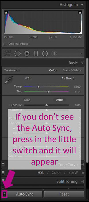 A screenshot showing how to batch edit in lightroom - auto sync