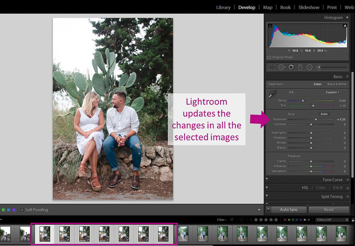 A screenshot showing how to use autosync to batch edit in Lightroom