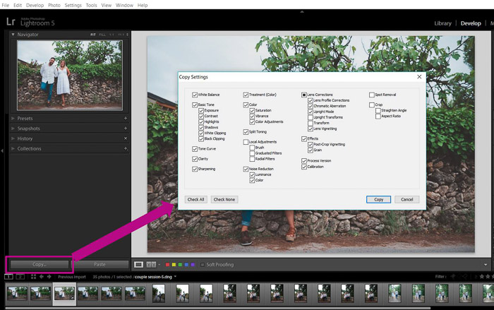 A screenshot showing how to batch edit in lightroom - copy