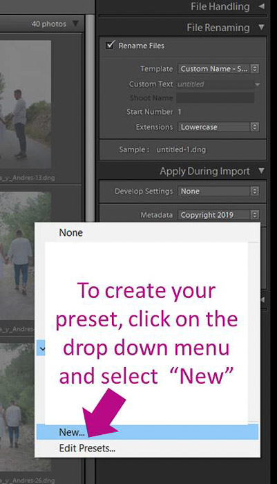 A screenshot showing how to create a metadata preset  in Lightroom