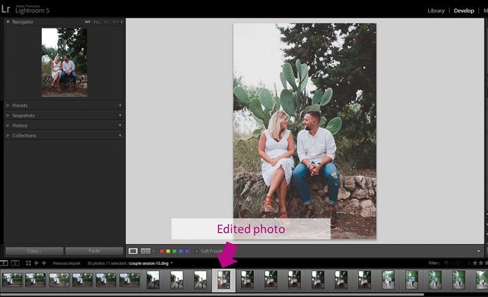 A screenshot showing how to use the Synchronisation Option to batch edit in Lightroom