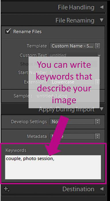 A screenshot showing how to batch edit in lightroom - keywords
