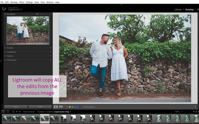 A screenshot showing how to copy edits to batch edit in lightroom