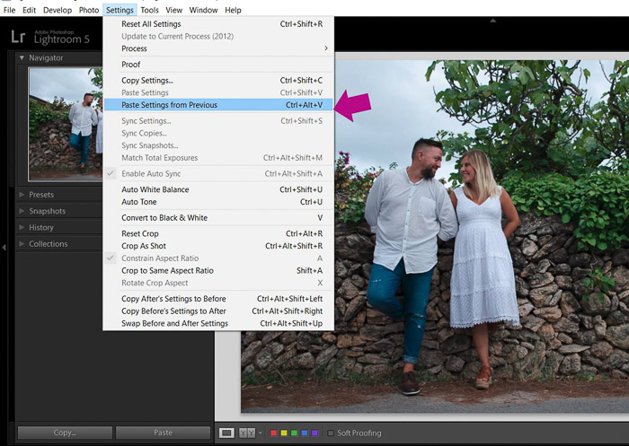 A screenshot showing how to batch edit in lightroom - paste settings from previous image