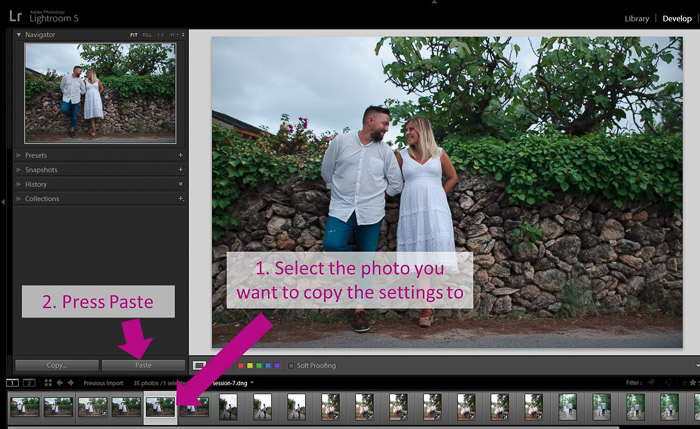 A screenshot showing how to batch edit in lightroom