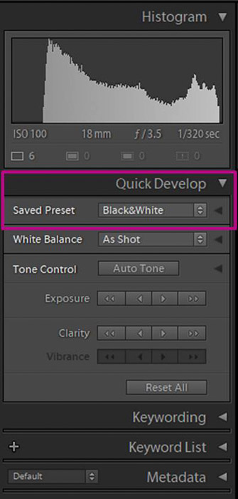 A screenshot showing how to select a Saved Preset in thew Quick Develop panel in Lightroom