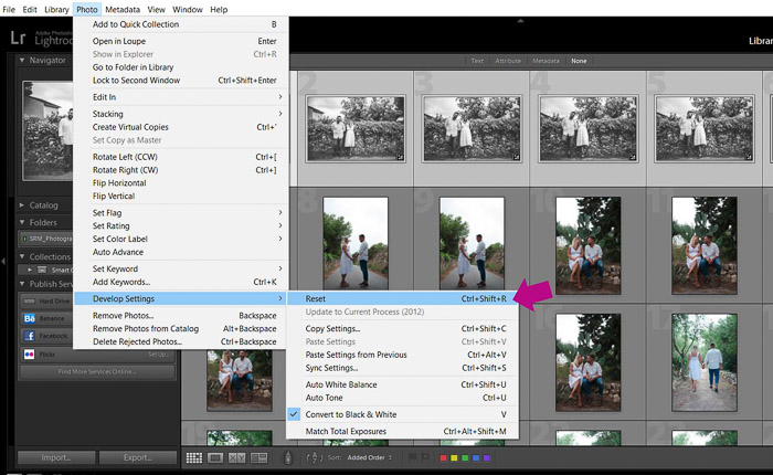A screenshot showing how to batch edit in lightroom - reset