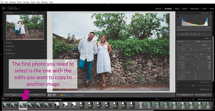 A screenshot showing how to batch edit in lightroom - select first photo