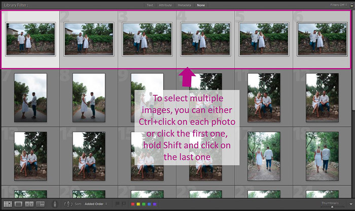 A screenshot showing how to  select multiple images to batch edit in lightroom