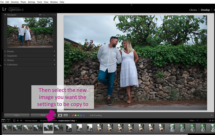 A screenshot showing how to select a new image to batch edit in lightroom