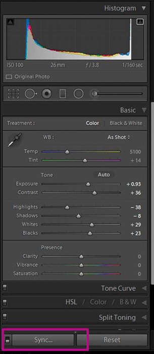 A screenshot showing how to batch edit in lightroom - sync settings