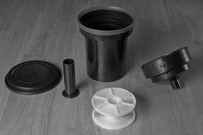 A close up of materials showing how to develop film at home
