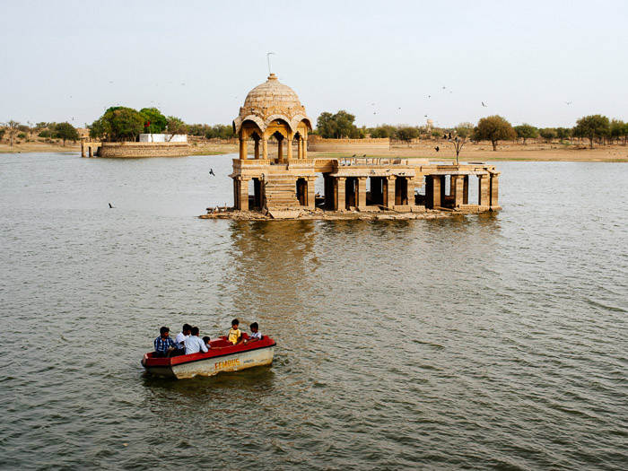 An ancient structure in a lake in India